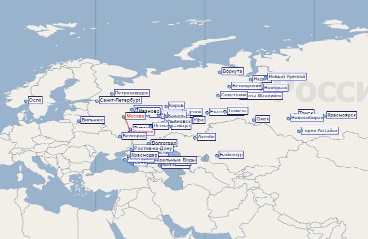 Карта маршрутов РусЛайн
