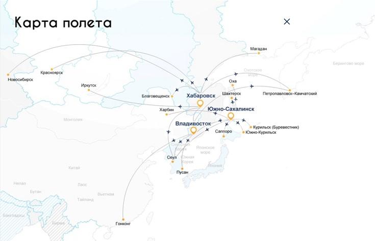 Карта маршрутов а/к Аврора