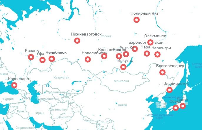 Карта маршрутов а/к Ангара